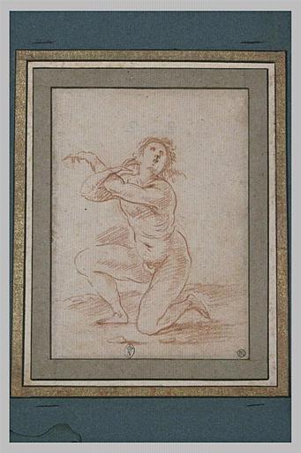 Un homme nu, genou droit à terre, tête en arrière