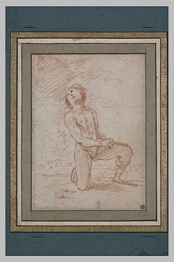 Une femme nue genou gauche à terre, bras croisés