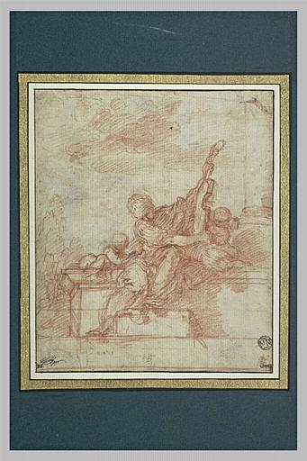 Figure de femme assise tenant un instrument de musique