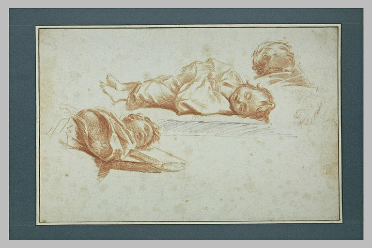 Trois figures d'enfants couchés et endormis