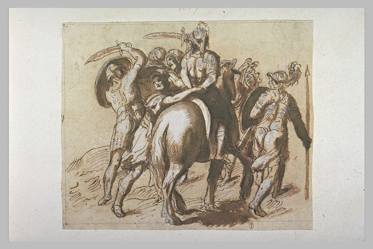 Plusieurs guerriers entourant un autre guerrier à cheval, prisonnier