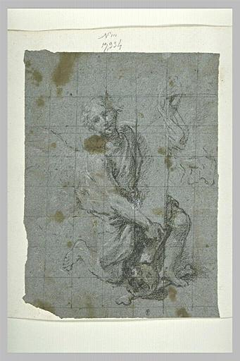 Un ange à genoux, avec à ses pieds, un tibia et un crâne