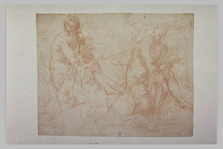 Deux études d'une femme nue, assise, s'essuyant la jambe_0
