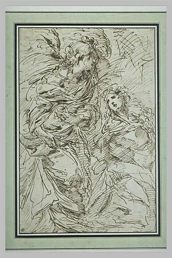 Un ange debout paraissant s'adresser à une femme assise