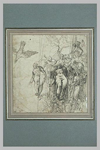 Groupe entourant une figure nue ; reprise de l'aigle et de la figure nue