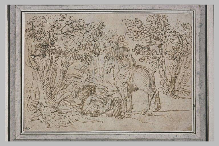 Dans un bois, trois personnages allongés, et une femme à cheval