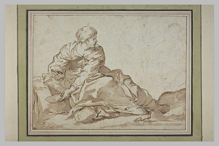 Femme assise à terre, tenant une écuelle, se retournant