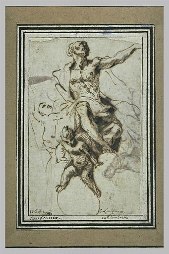 Un prophète sur des nuages soutenu par deux anges