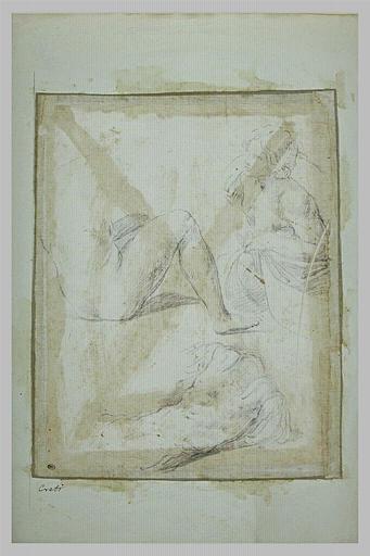 Buste d'une jeune fille, femme nue assise à terre, torse d'un soldat