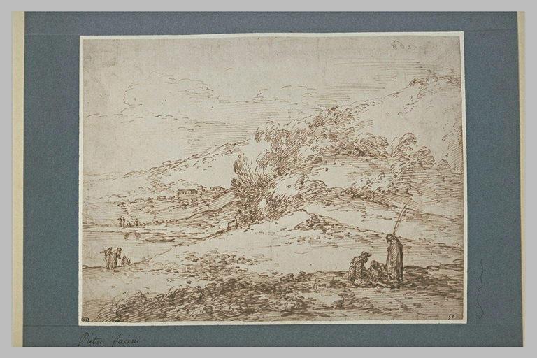 Trois personnages dans un pasyage montagneux, au bord d'un lac