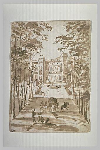 Vue d'un palais avec une allée bordée d'arbres et animée de figures
