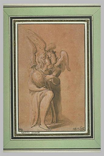 Deux anges agenouillés, en adoration