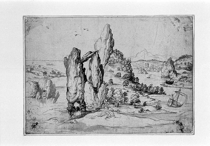 Paysage de bord de mer avec de nombreux rochers