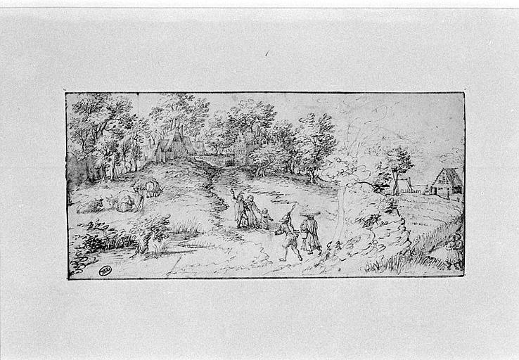 Paysage de campagne avec des vaches paissant et des personnages