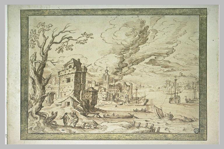 Port avec une baie animée de trois navires, de deux barques et deux canots