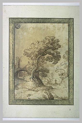 Paysage avec une arche à gauche et un ruisseau_0