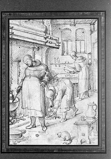 Trois moines occupés à préparer les mets, dans une cuisine