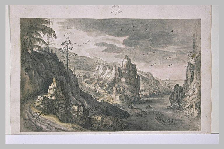 Paysage avec un fleuve coulant entre des rochers élevés