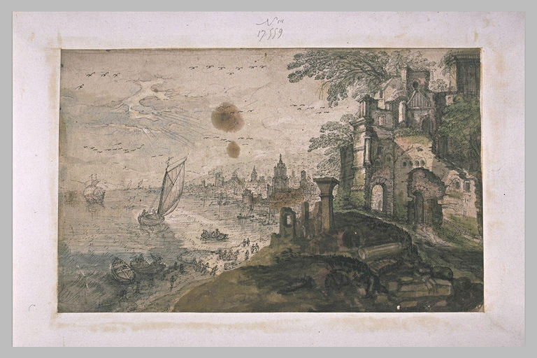Ville au bord de la mer, avec des ruines à la droite du devant