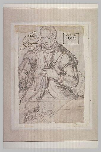 Un homme debout, tenant les deux pans de sa veste, et reprise du geste