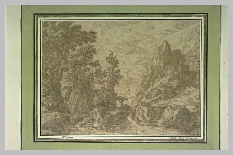 Vue de montagne, avec un bourg, une passerelle menant au bois_0