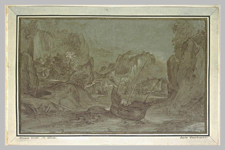 Port entre des falaises avec un navire échoué_0