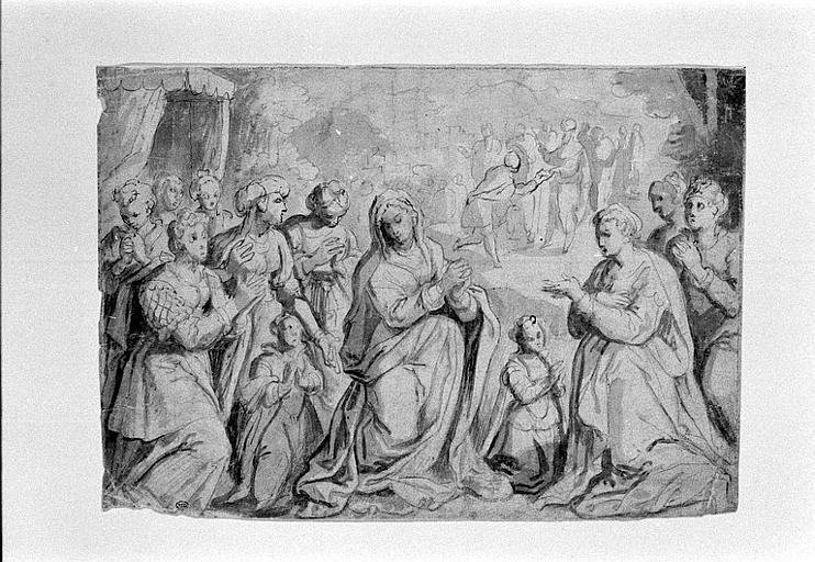 Groupe de femmes et deux fillettes, au premier plan d'un paysage