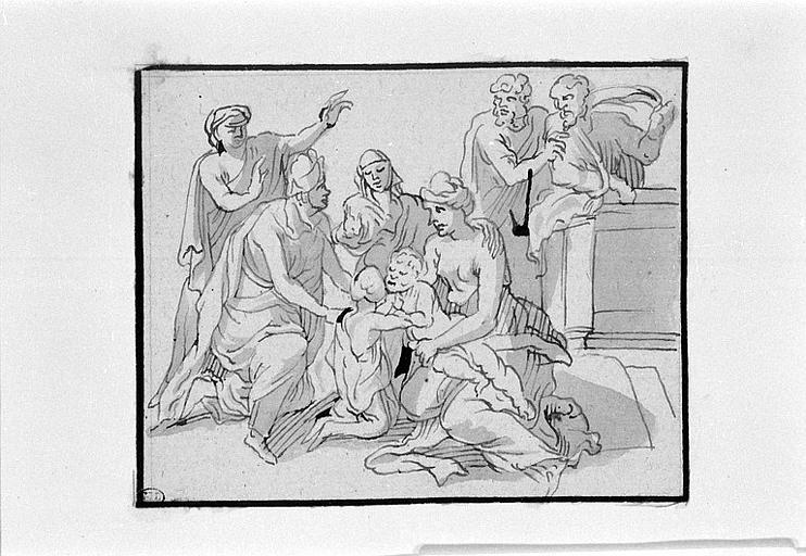 Etude pour une Sainte Famille avec deux hommes drapés