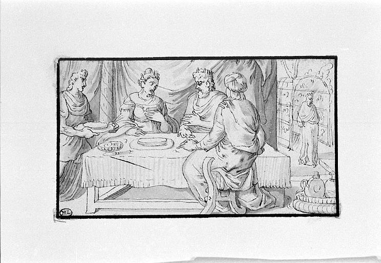 Esther, Assuerus et Aman attablés
