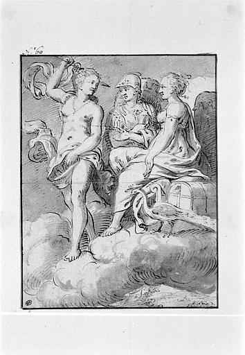 Diane, Junon et Minerve sur des nuées au dessus d'un paysage