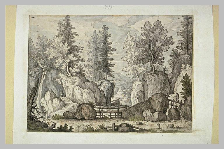 Paysage : rochers et arbres, rivière avec passerelles et deux figures