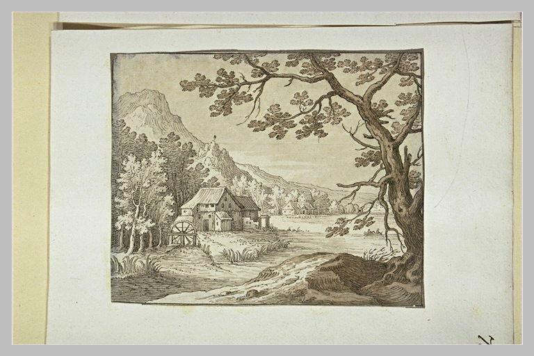 Paysage avec des maisonnettes entourées d'arbres, au pied de montagnes