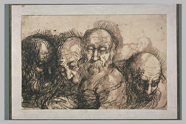 Etude de quatre têtes de vieillards