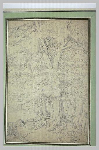 Paysans endormis et deux chevaux sous de grands arbres