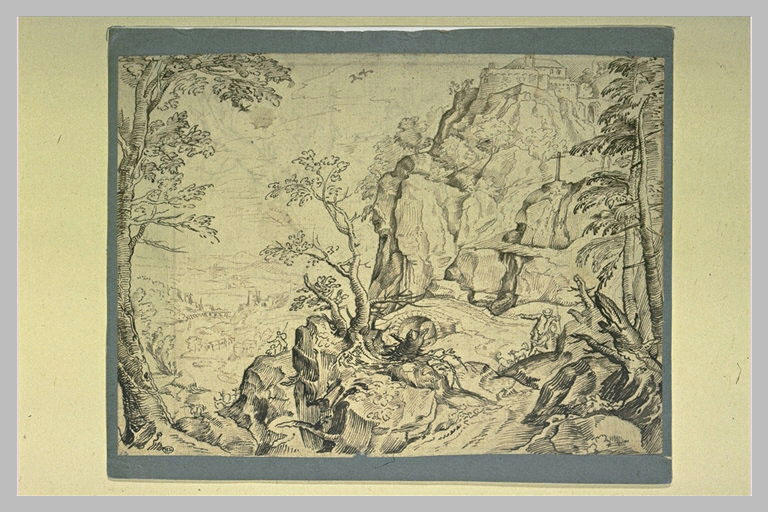 Paysage : escarpement rocheux avec un calvaire au bord d'une vallée