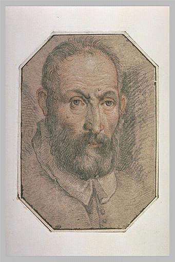 Tête d'homme, vue de face, portant moustache et barbe