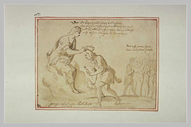 Femme drapée couronnant un homme : allégorie sur la récompense de la Vertu