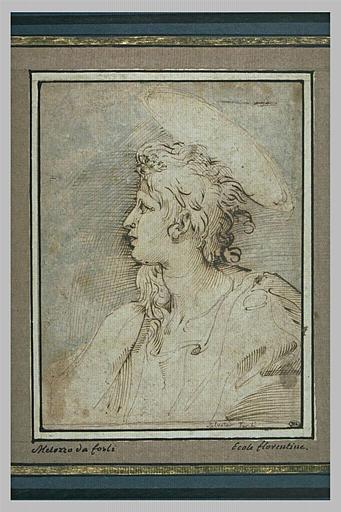 Buste d'un saint, vu de profil, tourné vers la gauche