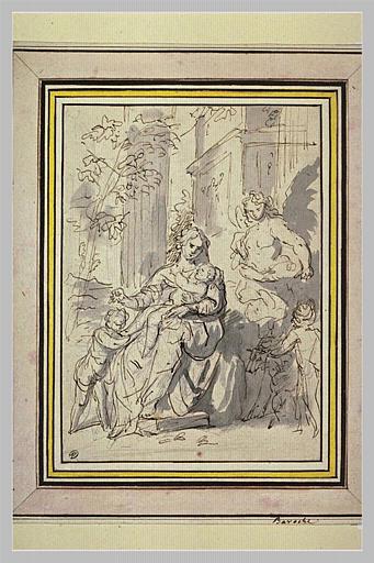 La Vierge, l'Enfant Jésus dans ses bras, et saint Jean-Baptiste