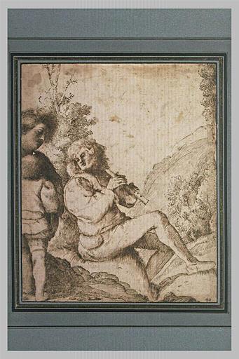 Un berger, joueur de chalumeau, regardant un jeune garçon
