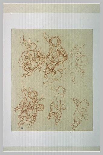 Etude de plusieurs figures d'angelots, vus en raccourci