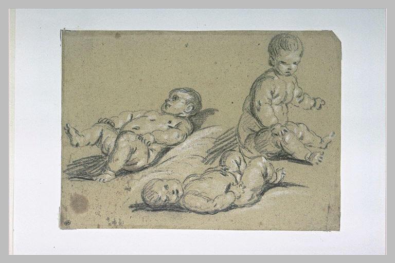 Etudes de trois enfants nus, deux couchés, le troisième assis