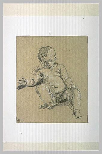 Etude d'un enfant nu, assis, vu de face