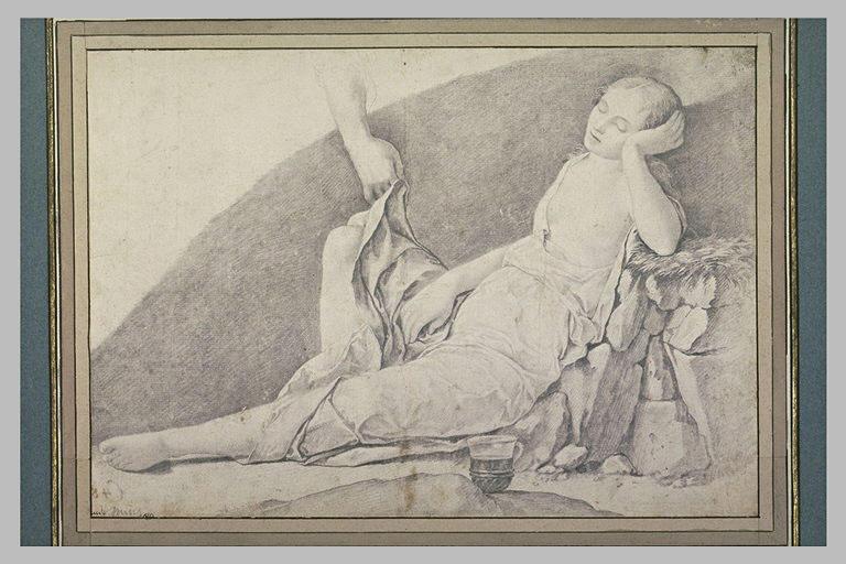 Jeune femme demi nue, endormie, dont la draperie est soulevée par une main