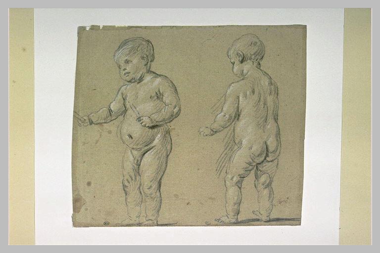 Deux enfants nus, debout