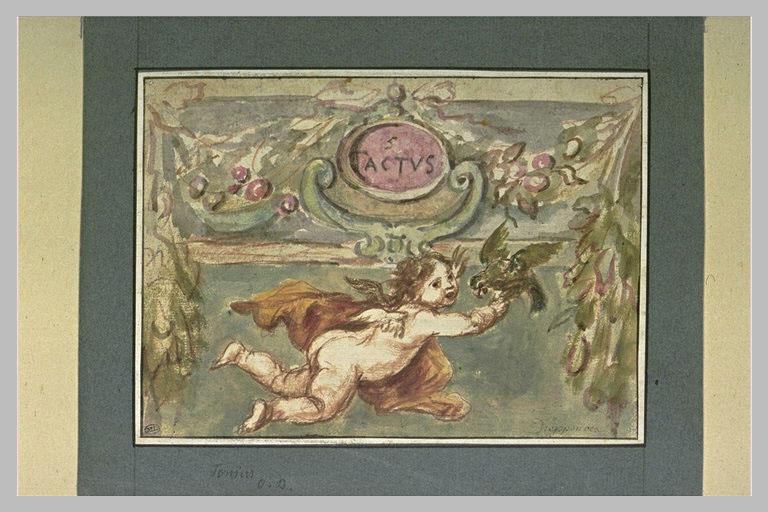 Le Toucher, sujet allégorique composé d'un ange tenant un perroquet_0