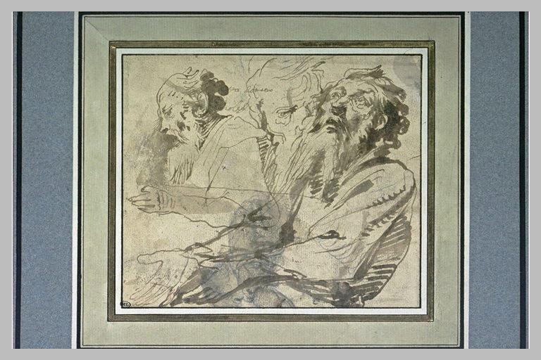Etude de deux têtes et d'un buste de vieillard