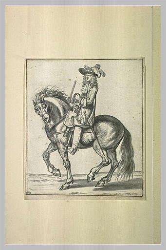 Officier cavalier tourné vers la gauche, tenant son bâton de commandement_0