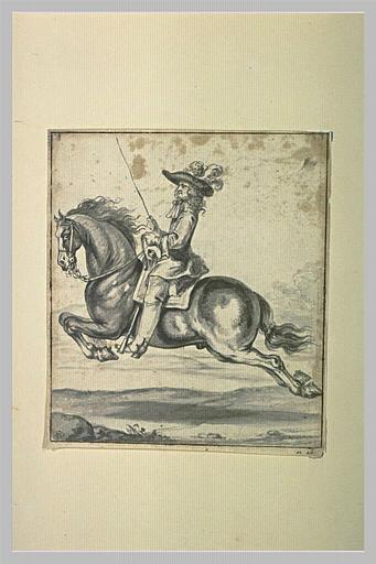 Cavalier sur un cheval volant en capriole