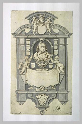 Projet d'un monument funéraire avec le buste du défunt